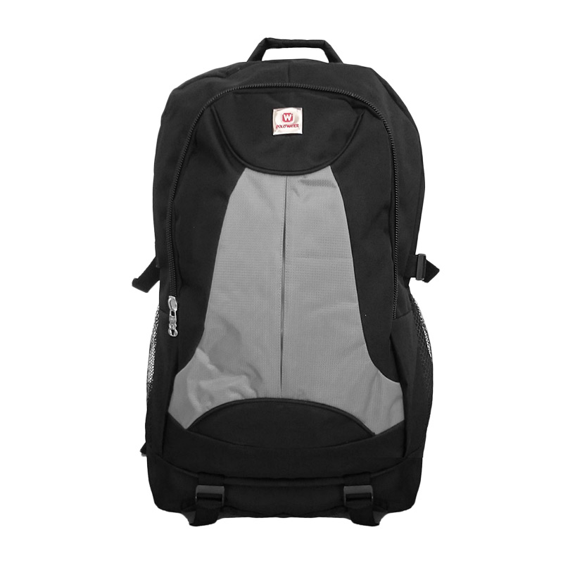 POLO Outdoor Duotones Tas Ransel Laptop Pria + Free Pelindung Hujan - Grey Black