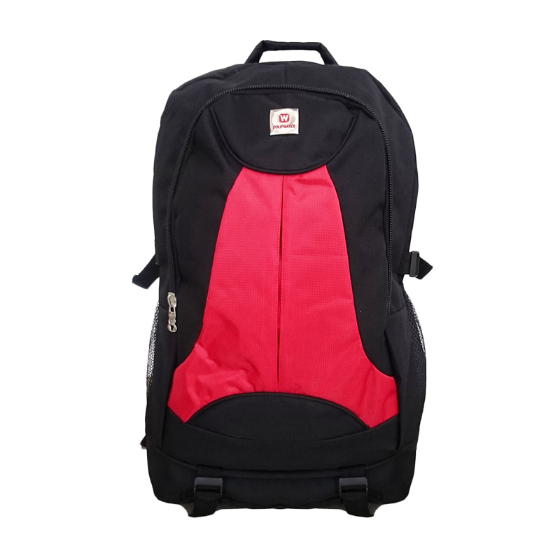 POLO Outdoor Duotones Tas Ransel Laptop Pria - Red Black + Free Pelindung Hujan