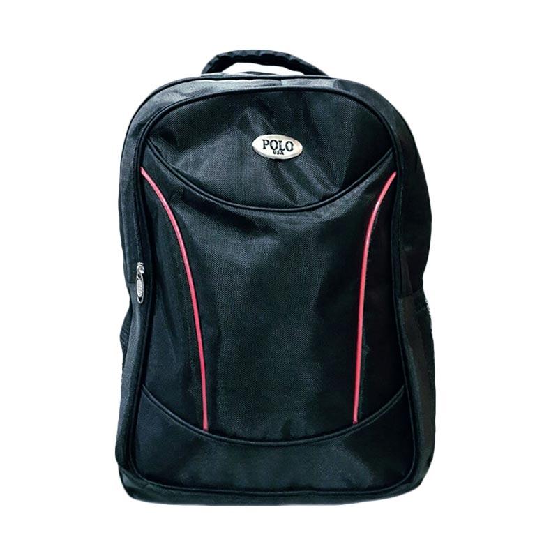 Polo Stingray Laptop Backpack + Raincover Tas Ransel - Hitam