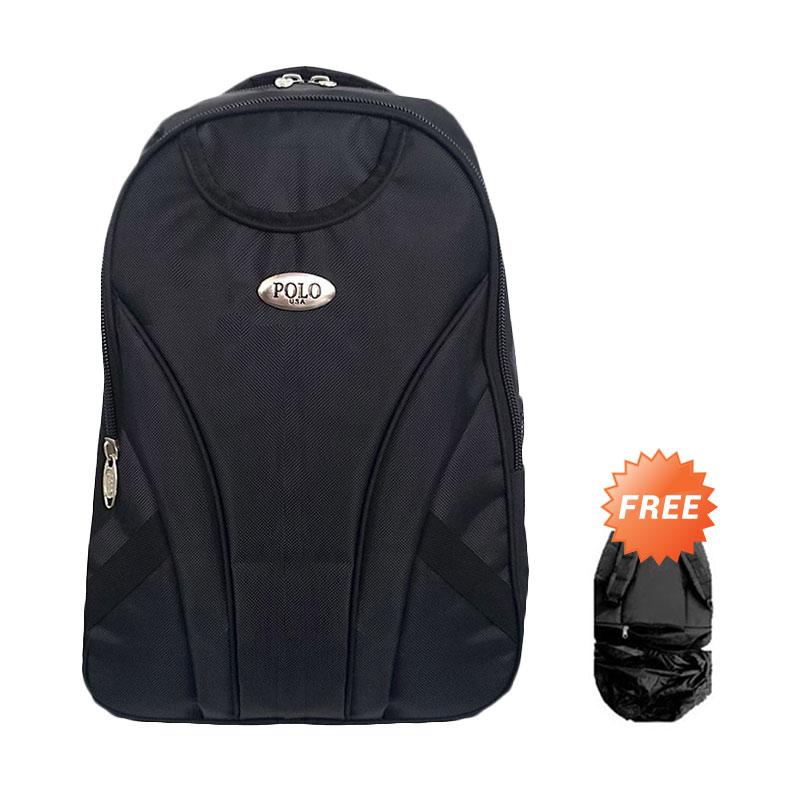Polo USA Hiu Black Laptop Backpack + Raincover - Hitam