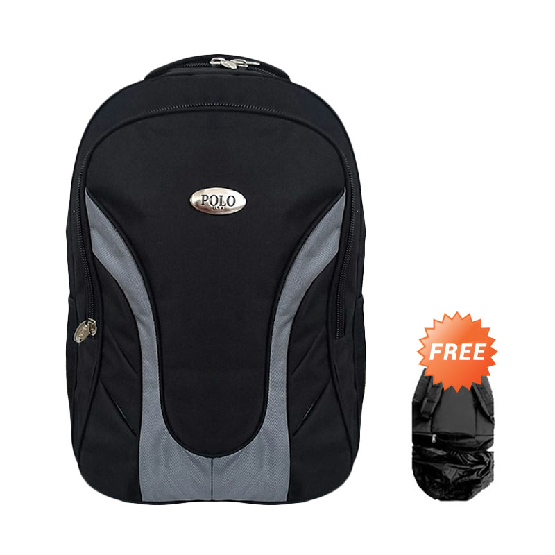 Polo USA Sparta Black Grey Laptop Backpack Dan Raincover - Hitam