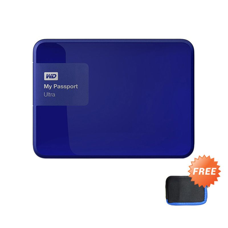 WD MyPassport Ultra Blue Hard Disk Eksternal [1 TB] + Pouch