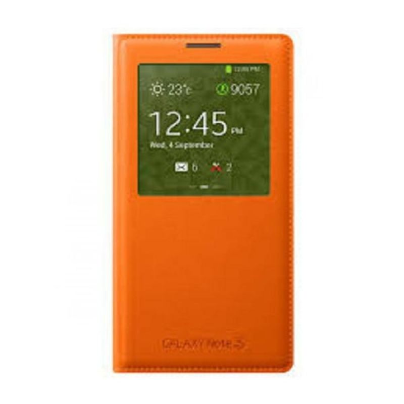 Samsung Leather S-View Cover Orange Casing for Samsung Note 3