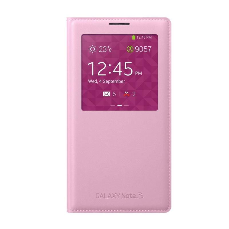 Samsung Leather S-View Cover Pink Casing Samsung Note 3