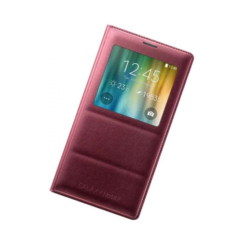 Samsung Leather S View Red Casing for Galaxy Note 4