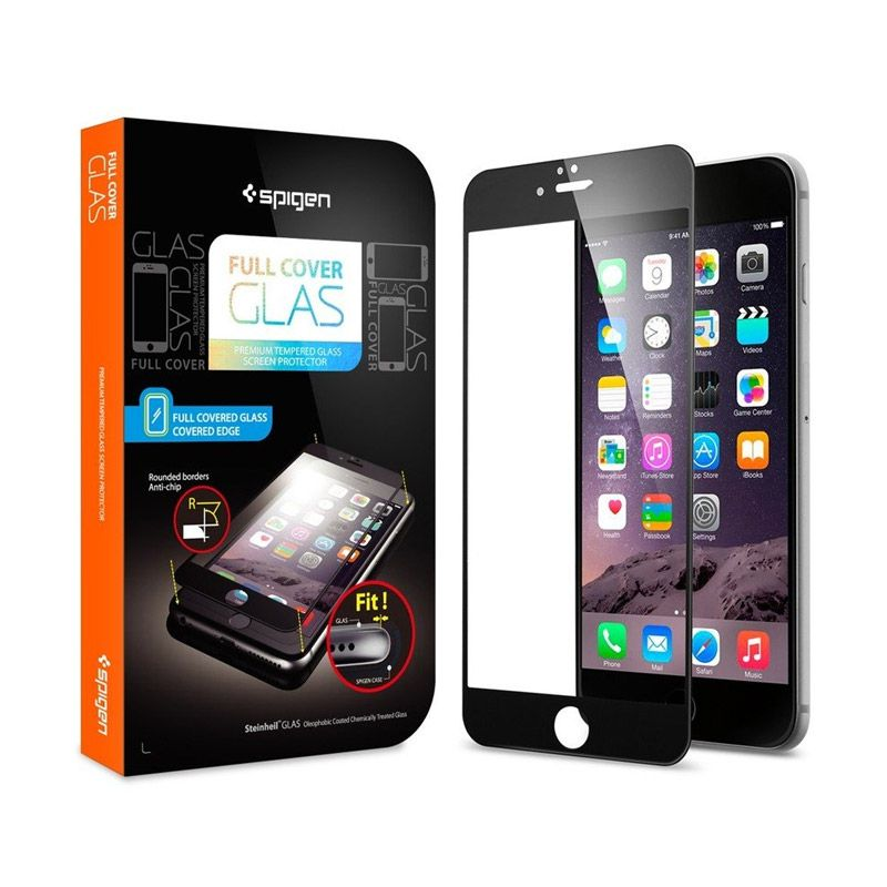 Spigen Hitam Temperred Glass Screen Protector for iPhone 6 [4.7 Inch]