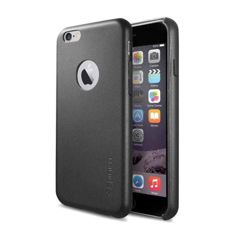 Spigen Leather Fit Hitam Casing for iPhone 6 Plus