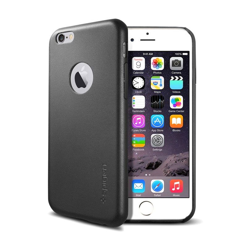 Spigen Leather Fit Hitam Casing for iPhone 6