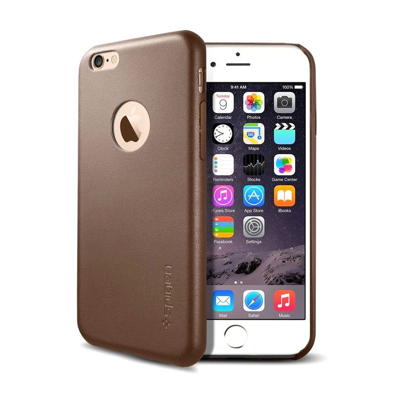 Spigen Leather Fit Cokelat Casing for iPhone 6 Plus