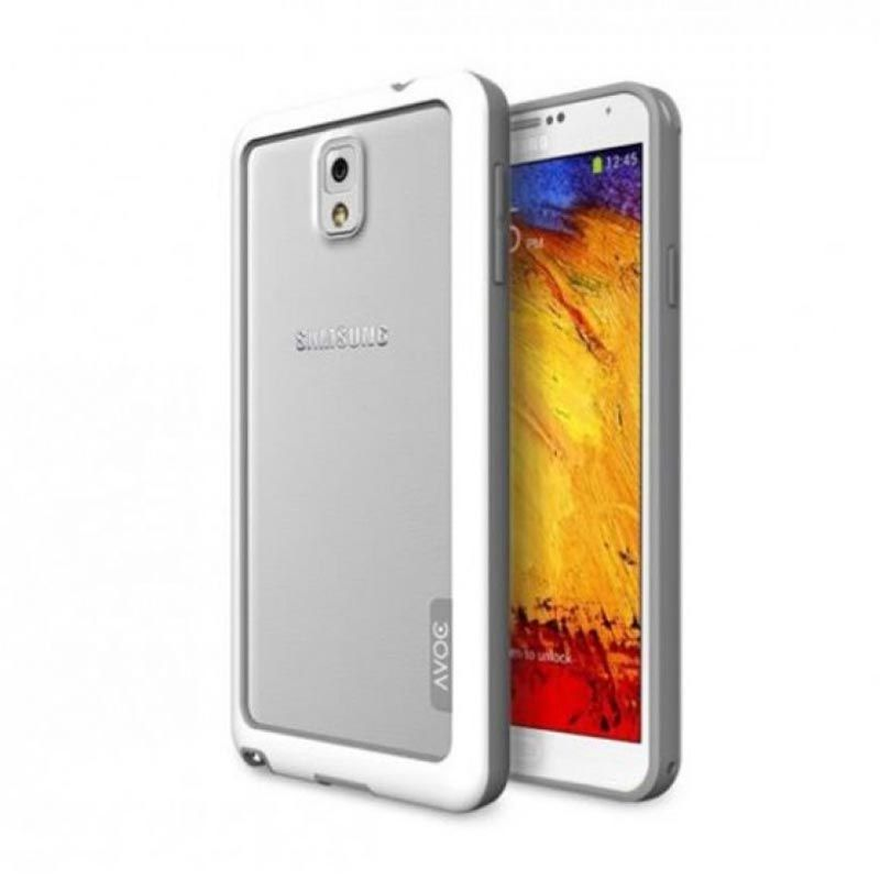 ZENUS AVOC Bumper Solid White Grey Casing for Samsung Note 3