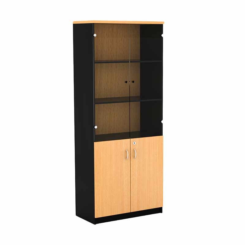 Prissili Mortred Bookcase with Door Glass Beech Rak Buku