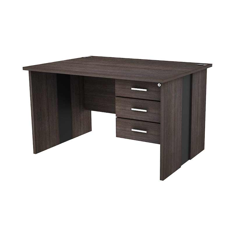 Prissilia Funf Office Table Meja Kantor - Dark Oak