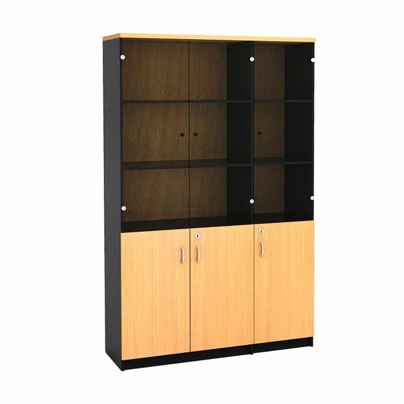 Prissilia Mortred Bookcase with 3 Door Glass Rak Buku - Beech