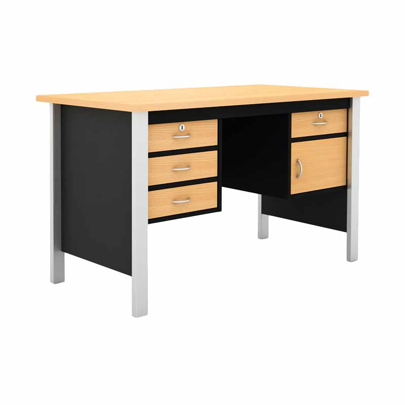 Prissilia Mortred Office Desk 2D Beech Meja Kantor with Ironfeet