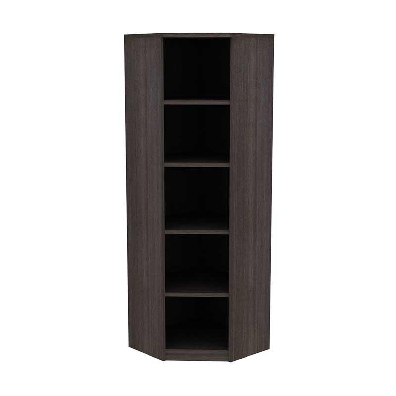 Prissilia Corner Bookcase Dark Oak Rak Buku