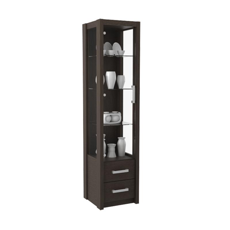 harga Pro Design Batavia Lemari Display Pintu Kaca 2 Laci - Espresso - Khusus JAWA -