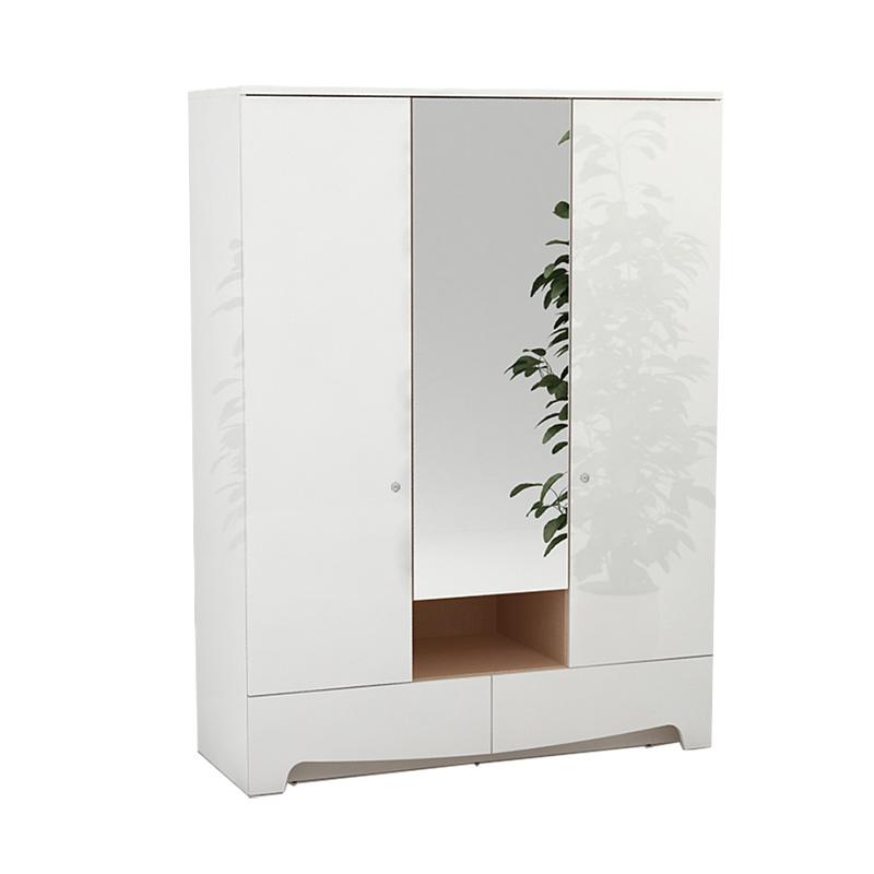 ... Pro Design Legia Lemari Pakaian 3 Pintu 2 Laci White Glossy Linen Khusus JAWA BALI