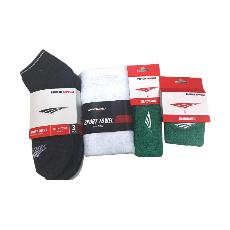 Proteam Banded Hijau Set Perlengkapan Olahraga [Sock Long/Towel/Handband/Headband]