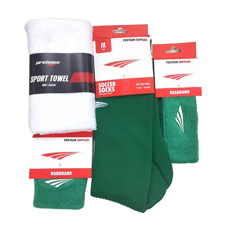 Proteam Banded Hijau Set Perlengkapan Olahraga [Sock Soccer/Towel/Handband/Headband]