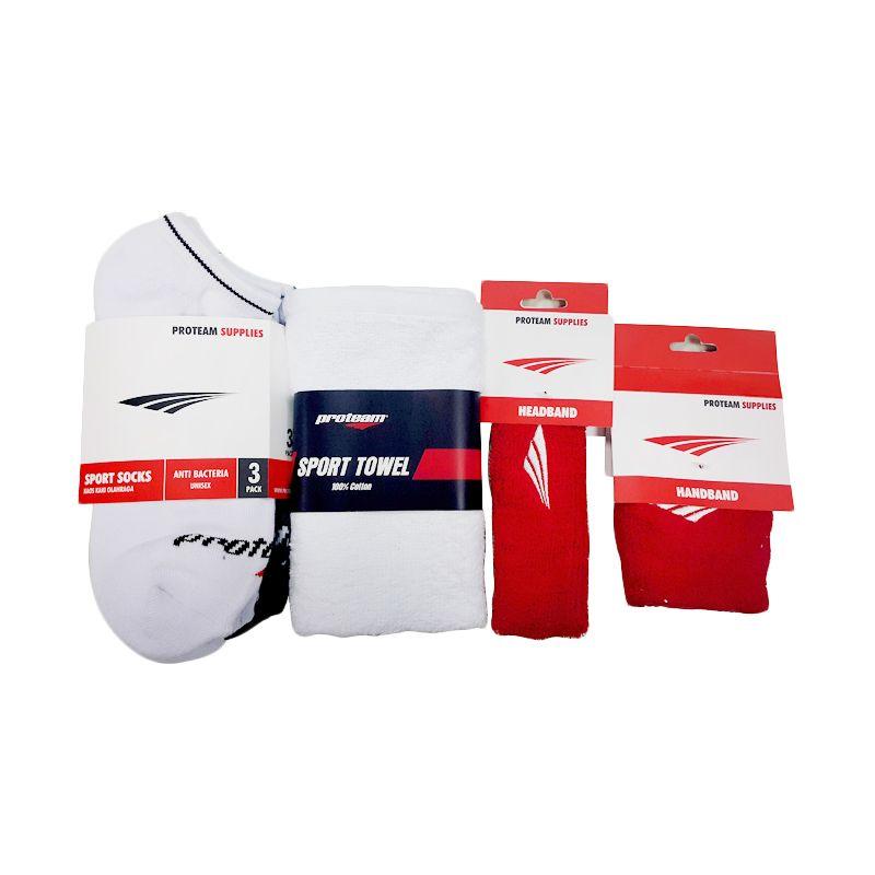 Proteam Banded Merah Set Perlengkapan Olahraga [Sock Short/Towel/Handband/Headband]