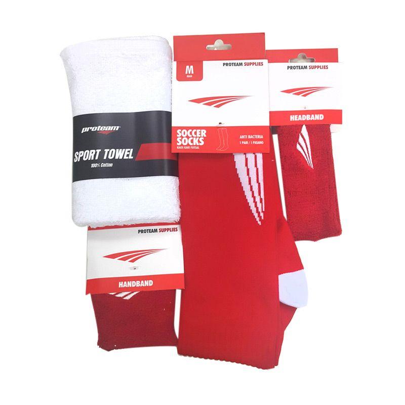 Proteam Banded Merah Set Perlengkapan Olahraga [Sock Soccer/Towel/Handband/Headband]