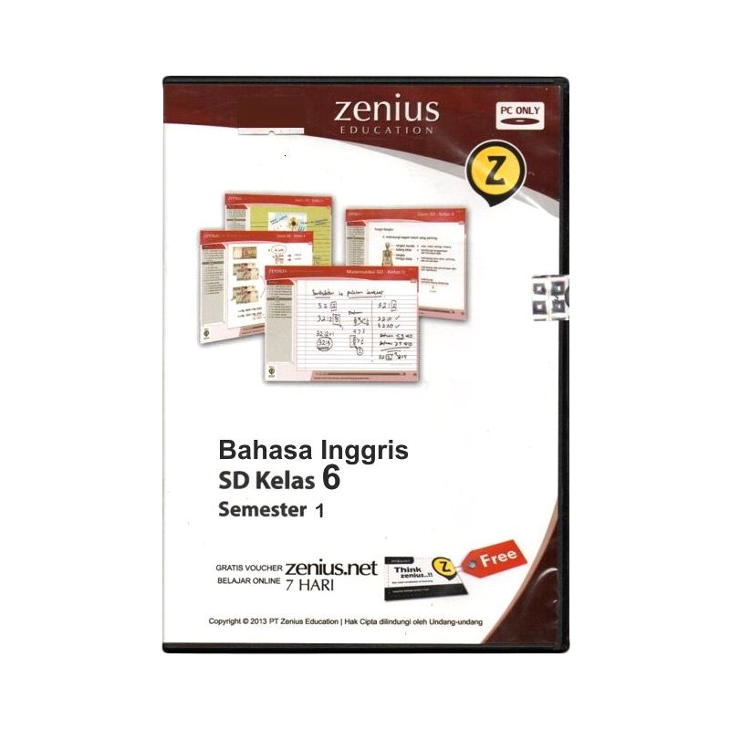 Zenius Maultimedia Learning CD Software [Bahasa Inggris Kelas 6 Semester 1]