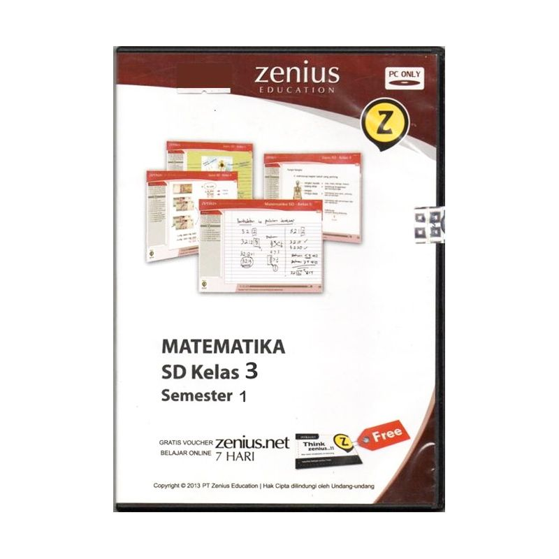 Zenius Multimedia Learning CD Software [Matematika Kelas 3 SD Semester 1]