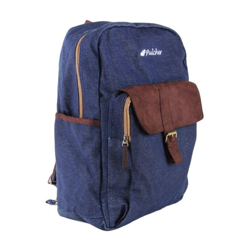 Pulcher Backpack Wezen Navy Tas Ransel + Pouch