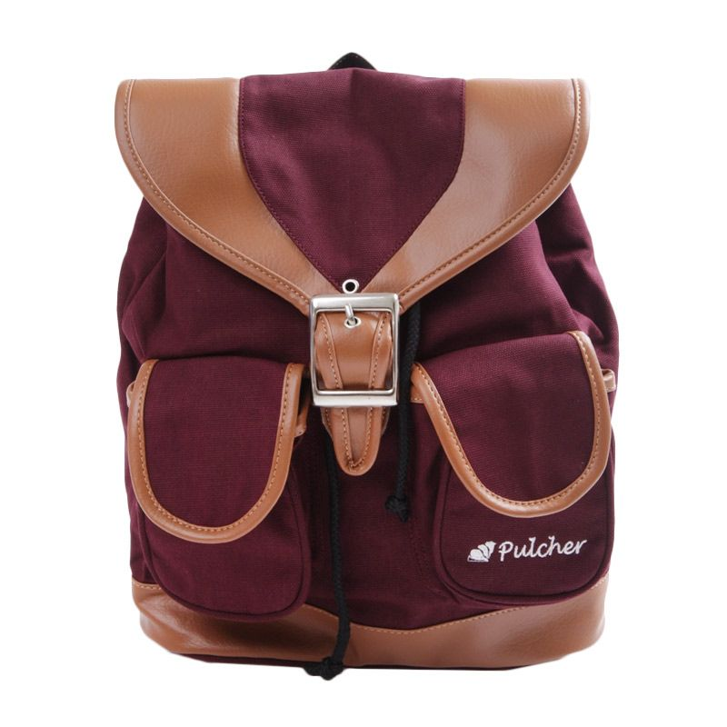 Pulcher Fox Black Maroon-Tas Ransel-Tas Sekolah-Tas Kuliah-Tas Kerja-Tas Travel-Tas Punggung-Mini Bag-Unisex