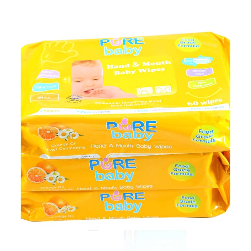 Pure Baby Hand & Mouth Wipes Orange Oil Tissue Basah  60W Buy 2 Get 1 Free