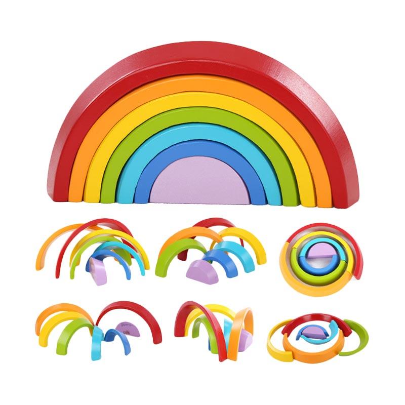 Puzzle Anak Rainbow Wooden Puzzle Mainan Anak