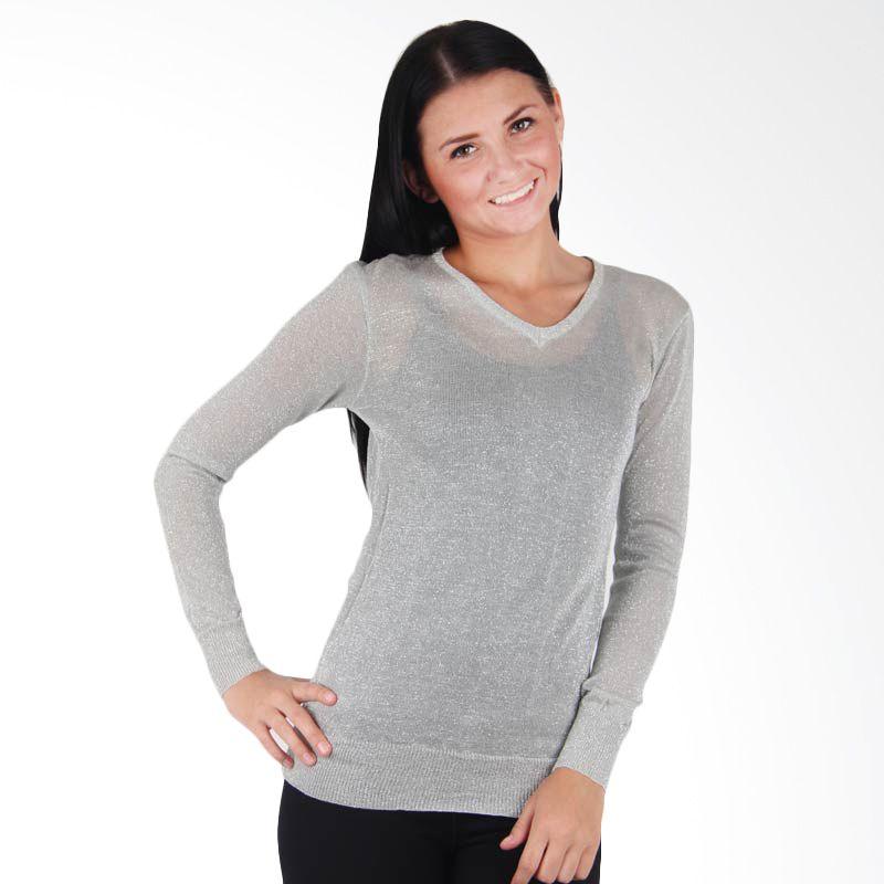 Quincy Label Glittery Sweater Light Grey
