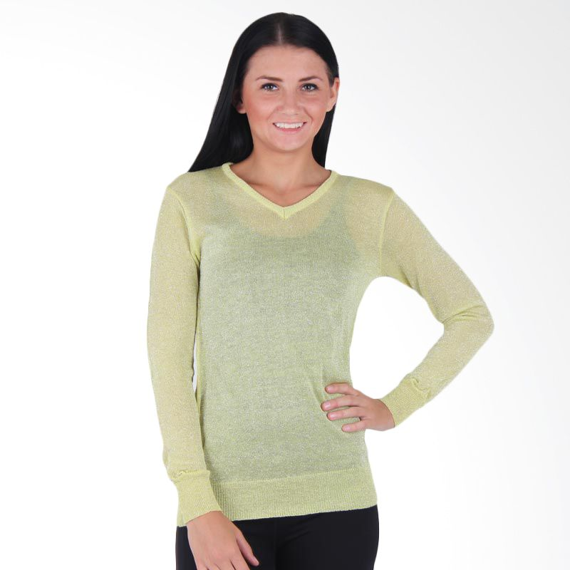 Quincy Label Glittery Sweater Soft Green