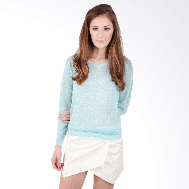 Quincy Label Glittery Sweater Light Blue