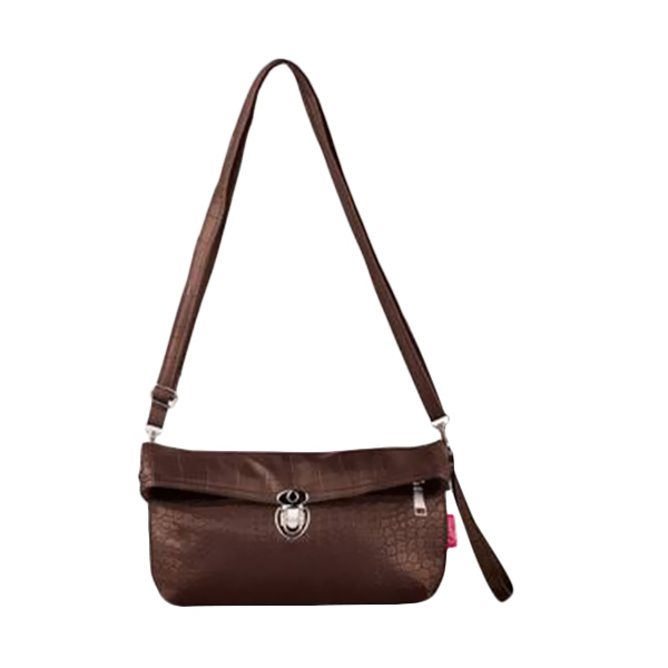 Quinta Croco Clutch Dark Brown Tas Wanita