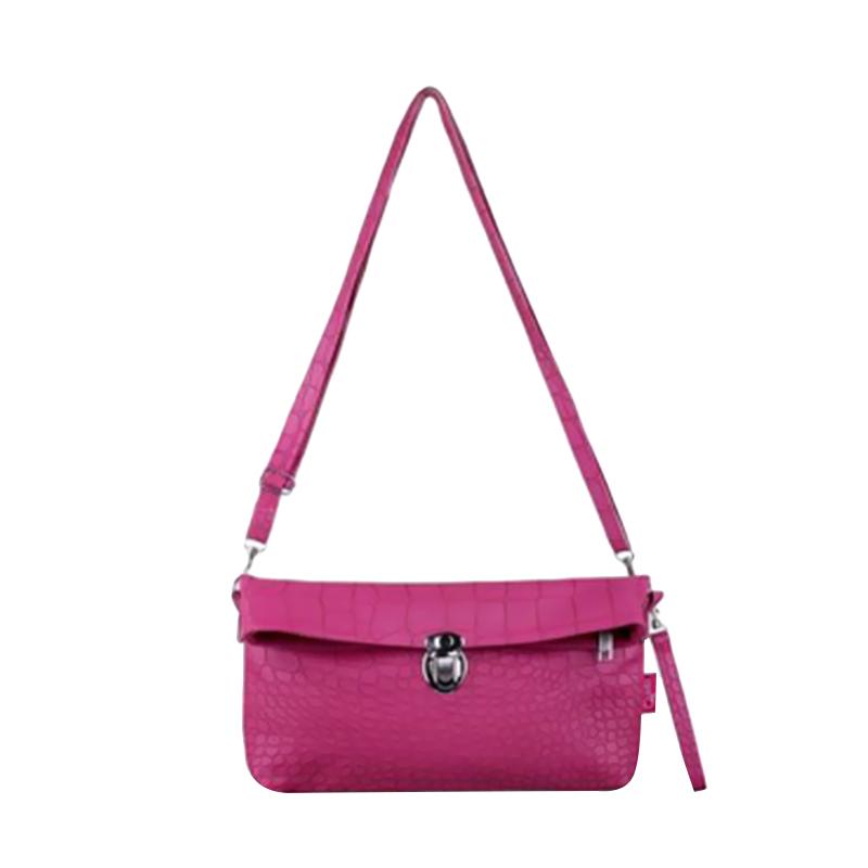 Quinta Croco Clutch Tas Wanita - Pink