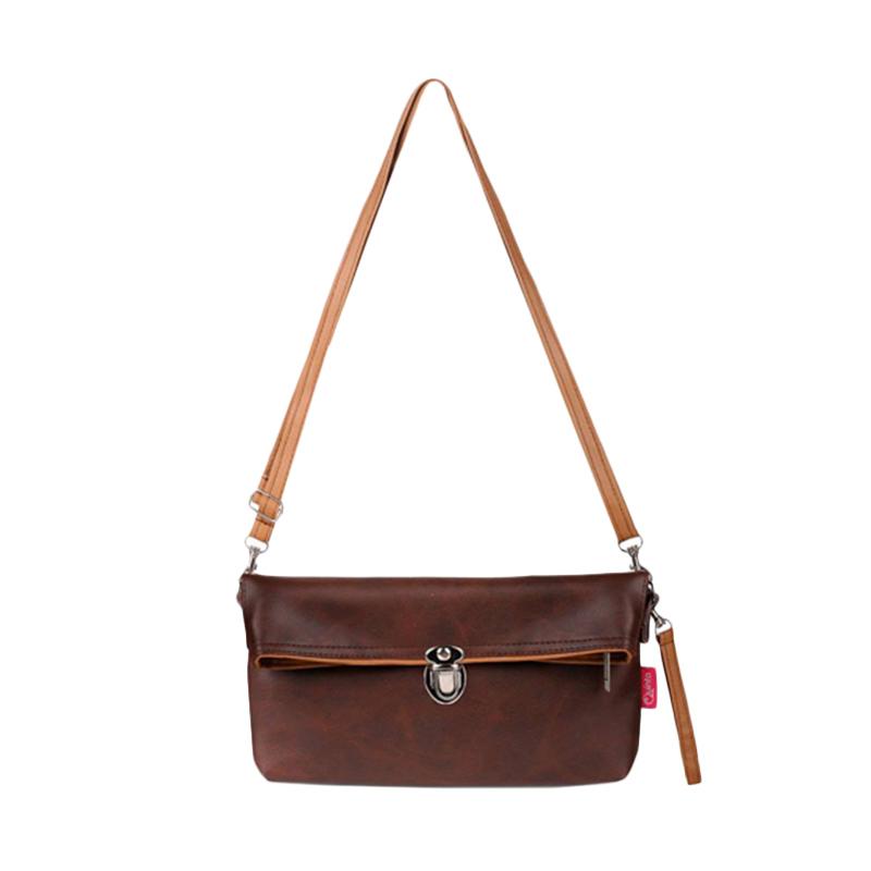 Quinta Elegant Clutch Tas Wanita - Dark Brown