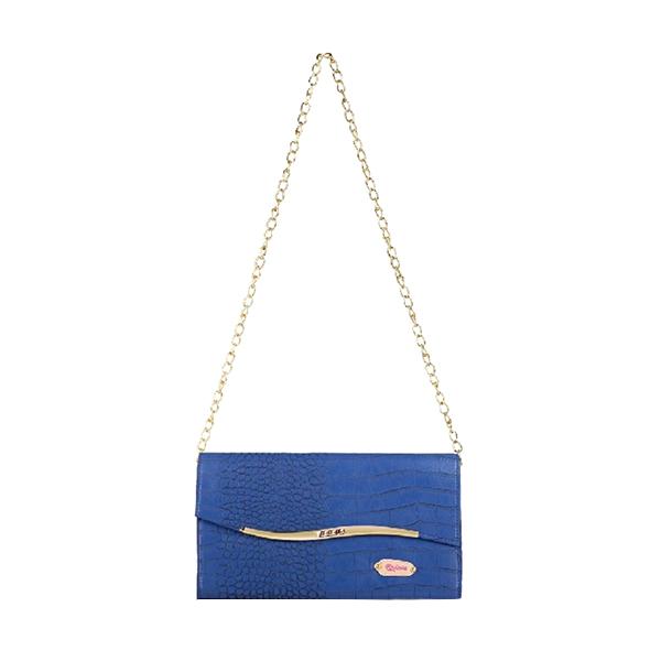 Quinta Golden Flip Croco Tas Wanita - Blue