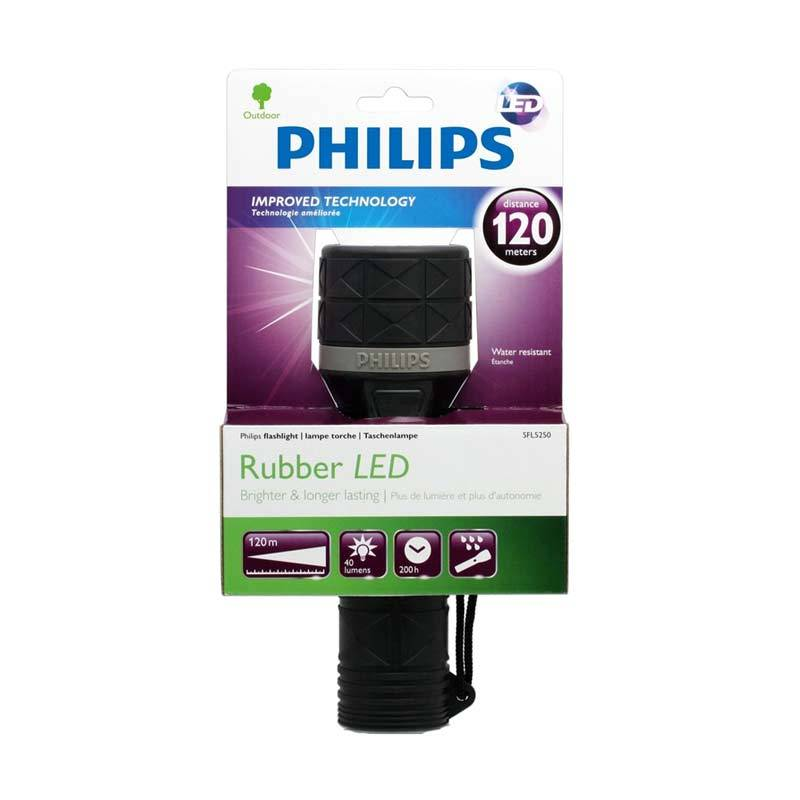 Philips Rubber SFL5250 Hitam Senter LED