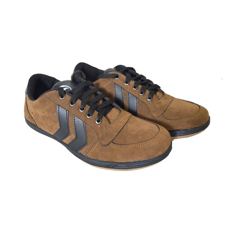 Raindoz Casual Double Stripe Brown Sepatu Pria