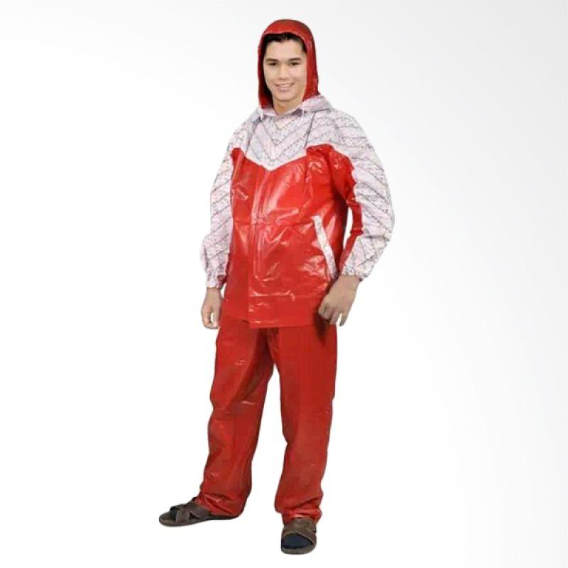 Rainwear Batik Merah Set Jas Hujan