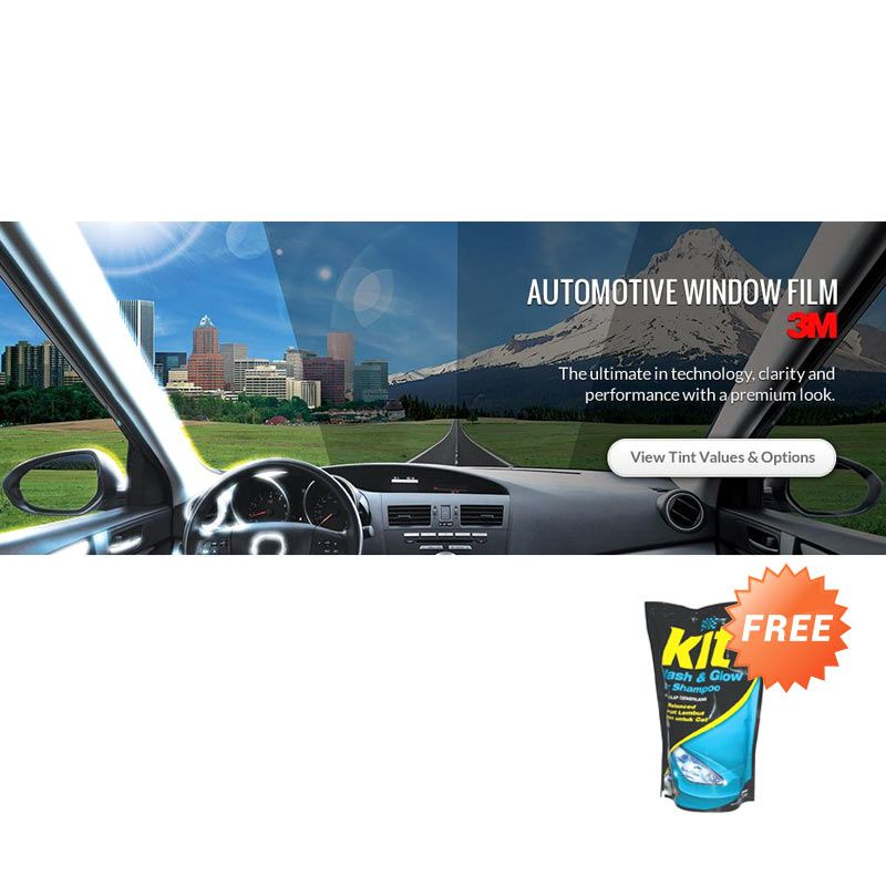 3M BC Medium Size Car Silver Kaca Film + Car Shampoo