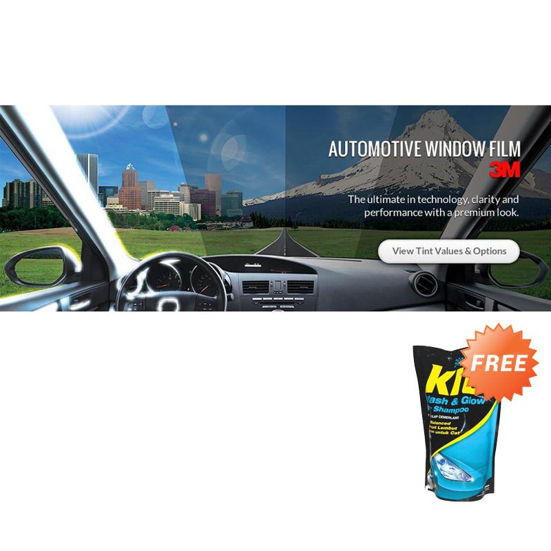3M Crystalline Blackbeauty Medium Size Car Kaca Film + Shampoo Mobil
