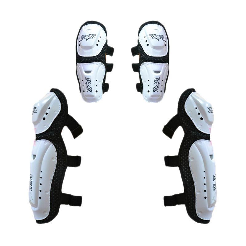 RajaMotor DKR6138 Fox Motocross Putih Decker Pelindung Lutut dan Siku