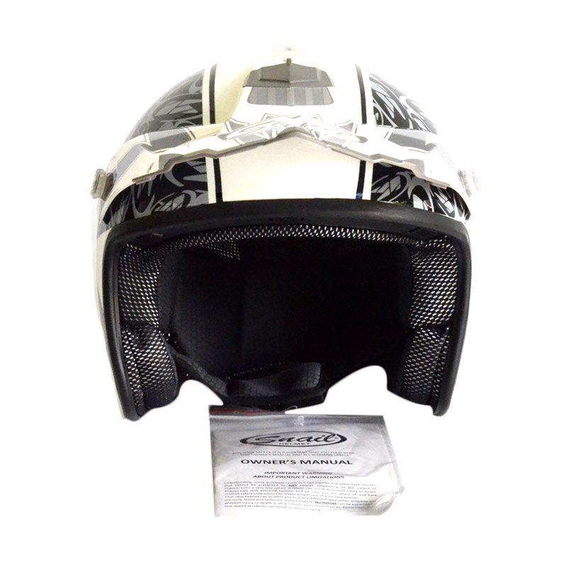 Snail 606 Up Motif HLM1441 Hitam Putih Helm Half Face