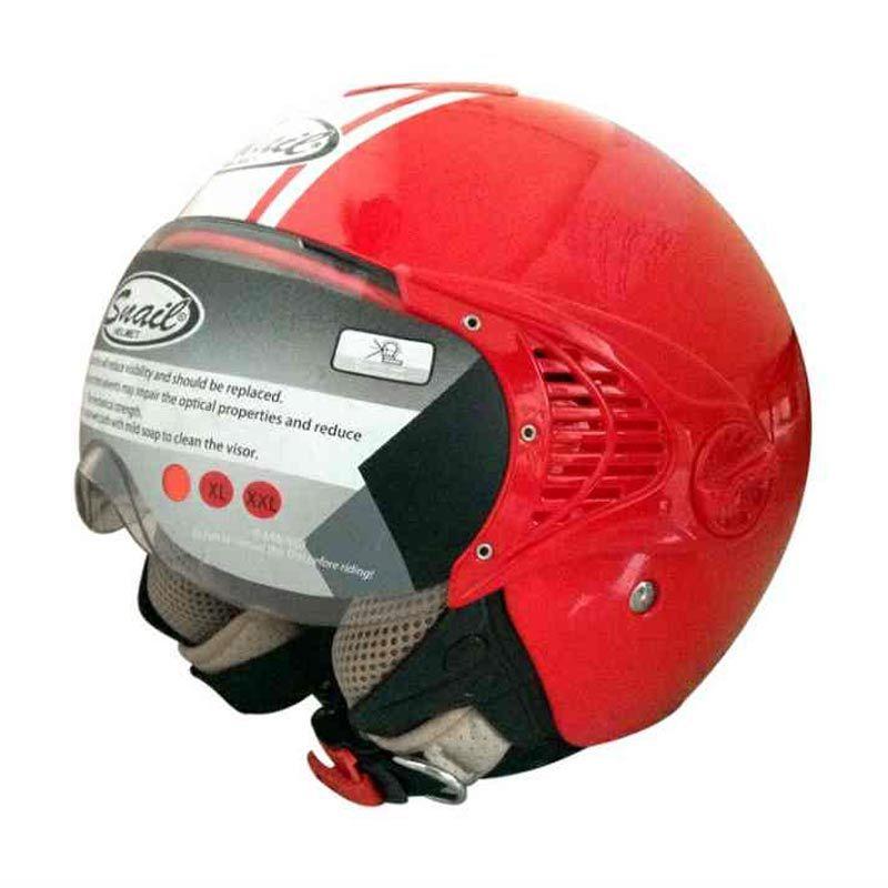 Snail Helm 1 Kaca Half Face Retro 632 Merah List Putih