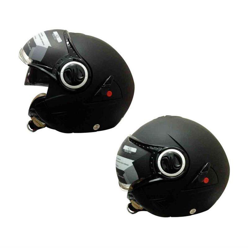 Snail Helm 2 Kaca Half Face Retro 622 Hitam Dope