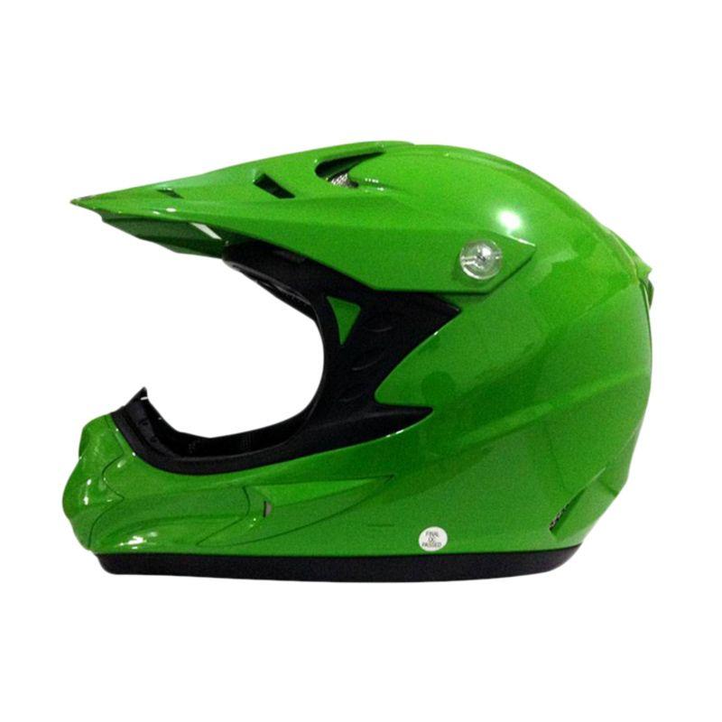 Snail HLM6066 MX308 Hijau Polos Helm Motocross