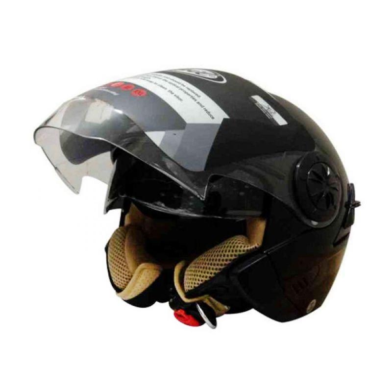 Snail Retro 622 Hitam Clear Helm Half Face