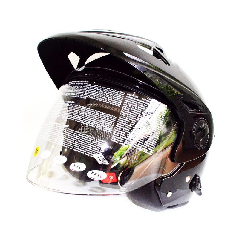 Zeus ZS612C Hitam Helm Half Face